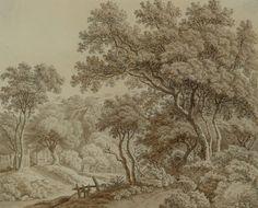MÁNES Antonín | Krajina se stromy a stavením | polovina 20. let 19. století, tuš… Vintage World Maps, Trees, Painting, Painting Art, Paint, Draw, Home Decor Trees, Wood, Paintings