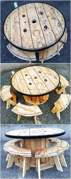 pallets wood cable spool #furniture idea