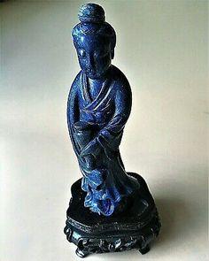"""""""ad:"""" Antique Chinese Guanyin Kwan Yin Goddess Blue Lapis Lazuli Jade Figure Statue"""