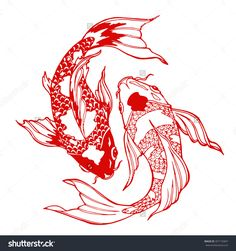 Illustration koi carp coloring page yin stock vector (royalty free) 35717 . - Illustration koi carp coloring page yin stock vector (royalty free) 357172847 – glass garden – - Tattoo Sketches, Tattoo Drawings, Body Art Tattoos, Art Sketches, Red Ink Tattoos, Leg Tattoos, Sleeve Tattoos, Koi Fish Drawing, Fish Drawings