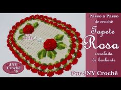 PAP Tapete de crochê Rosa enrolada de barbante por JNY Crochê - YouTube