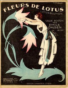 vintage sheet music cover — Fleurs de Lotus, 1920 (ill.: Victor Arnaud); ref. 13229