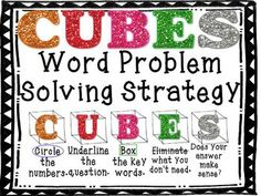 CUBES Math Word Problem-Solving Strategy Posters (FREEBIE) we use this in my math class. it is wonderful Math Strategies, Math Resources, Math Activities, Cubes Math Strategy, Classroom Resources, Classroom Ideas, The Words, Math Problem Solving, Math Solver