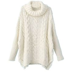 Sheinside Women White Long Sleeve Turtleneck Chunky Cable Knit Sweater... ($20) ❤ liked on Polyvore featuring tops, sweaters, shirts, pullover, cable sweater, white shirt, turtleneck sweater, pullover sweater and cable knit turtleneck sweater