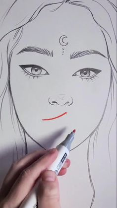 Art Drawings Beautiful, Art Drawings Sketches Simple, Pencil Art Drawings, Cool Drawings, Painting & Drawing, Drawing Gif, Drawing Heads, You Draw, How To Draw