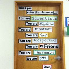 Door for classroom with download for signs school-bullentin-boards