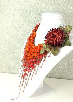 Купить Багряное Парфе. Колье из натуральных камней, брошь-цветок из кожи - ярко-красный, красный