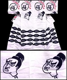 Men's cotton yukata kimono, with samurai faces and gourd bottles. From FuruGuru.  Currently available at http://www.wafuku.co.uk
