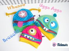 "Monster Mützen für Kinder ""Mützlis"" // Monster caps for kids by fiebmatz.jimdo.com via DaWanda.com"