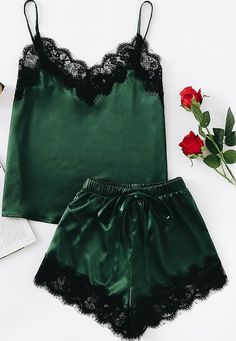 Nightfall Cami and Shorts Set Pajama Party Outfit, Pajama Outfits, Green Lingerie, Black Lace Lingerie, Cute Sleepwear, Sleepwear Sets, Lit Outfits, Casual Outfits, Fashion Outfits