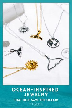 Check out these beach perfect necklaces that will complete your look! Seashell and whale tail necklaces are available at atoleajewelry.com. Save Our Oceans, Ocean Jewelry, Whale Tail, Island Life, Sea Shells, Arrow Necklace, Chokers, Rose Gold, Necklaces