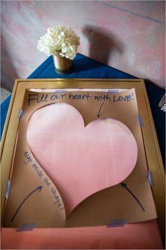 Fill our heart with love guestbook #guestbookideas #easydiyguestbook #weddingchicks http://www.weddingchicks.com/2014/04/07/playful-pink-and-navy-wedding/