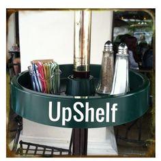Handy for restaurants and cafes! www.upshelf.com #storage #patio #beach #umbrella #bbq #shelf