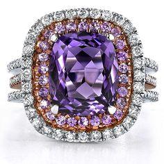 Pink Sapphire & Amethyst Diamond Ring--Michael Agnello