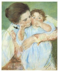 Mother And Child Against A Green Background  Mary Cassett
