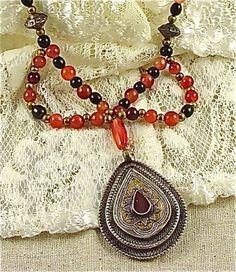Antique Kazakh Gilded Silver Pendant Teardrop w Carnelian Setting | craftsofthepast - Jewelry on ArtFire
