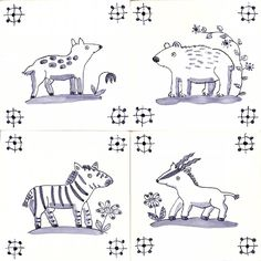 4 more animal tiles by Reptile Tiles