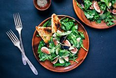 Fig and Manchego Salad with Herbed Croutons Recipe on Food52 #food52