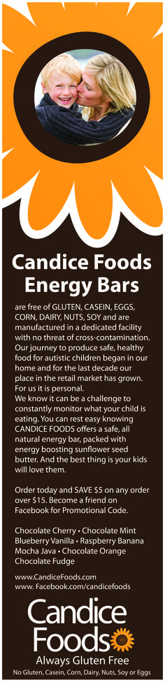 Ad design for Candice Foods a Gluten Free Energy Bar Manufacturer, Michigan