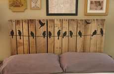 Headboard from up cycled pallet slats....love the bird on wire finish