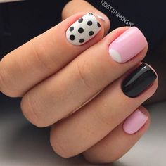 Everyday nails, Manicure by summer dress, mix match nails, Polka dot nails, School nails, Summer nails ideas, Tri-color nails, Wells on the nails