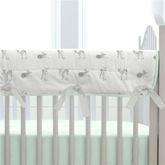 Silver Gray and Mint Fawn Crib Rail Cover made with care in the USA by Carousel Designs. Measures approximately long by wide. Crib Rail Guard, Crib Rail Cover, Mint Nursery, Nursery Neutral, Carousel Designs, Green And Grey, Gray, Baby Bedroom, Baby Cribs