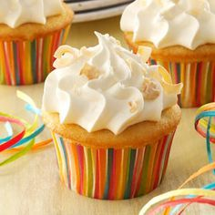 Coconut Tres Leches Cupcakes Recipe -Three types of milk wonderfully moisten these cupcakes. Toasted coconut on top adds an elegant touch. —Taste of Home Test Kitchen