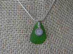 Beach Glass Pendant  Green/Luck Charm by ArcticGlass on Etsy