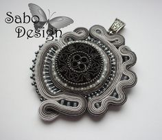 SHADES OF GRAY - soutache pendant handmade embroidered by SaboDesign.