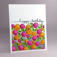 Simon Monday Challenge: Flora Birthday - New Ideas Watercolor Birthday Cards, Watercolor Cards, Watercolour, Birthday Painting, Bday Cards, Happy Birthday Cards, Birthday Doodle, Special Birthday, Birthday Presents