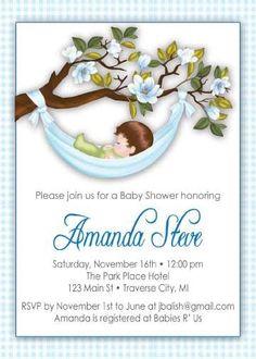 Hammock Baby Shower Invitation - Boy