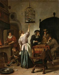 Parrot Cage Jan Steen, c. Jan Havickszoon Steen (c. 1626 – buried 3 February was a Dutch genre painter of the century (also known as the Dutch Golden Age). Psychological insight, sense of humour and abundance of colour are marks of his trade. Tableaux Vivants, Framed Artwork, Wall Art, Dutch Golden Age, Dutch Painters, Dutch Artists, Old Master, Art Reproductions, Art History