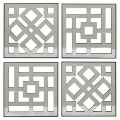 Set of 4 wood wall panels with lattice details. Product: 4-Piece wall art setConstruction Material: Wood and mirro...
