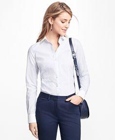 Tailored-Fit Stripe Stretch-Cotton Poplin Blouse - Brooks Brothers