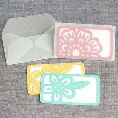 Business card decorations with vellum envelopes by Kelly Wayment #silhouettedesignteam