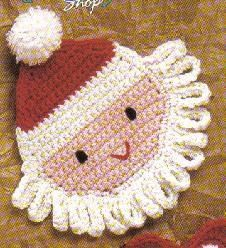 Santa Coaster - Great Christmas crochet pattern! Will really add to your holiday decor. can made into a dishcloth also