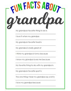 Fun Facts About Grandpa Father's Day Printable clever fathers day gifts, dad day crafts, handprint fathers day gifts Facts About Grandpa Father's Day Printable
