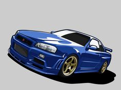 Nissan Skyline R34 by kazirules. the use of shadowing and highlighting gives the car more realistic textures