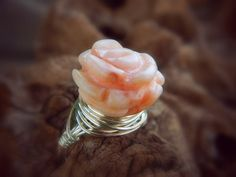 Coral Stone Jewelry Ring. Size 6  Carved Rose Coral by gabeadz