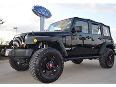 pictures of jeep wrangler in black with pink accents | 2010 Jeep Wrangler Unlimited, Auto, Custom Wheels, Pink Accent, 3 Inch ...
