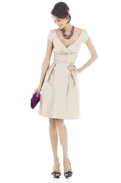 Champagne bridesmaid dress with cap sleeves