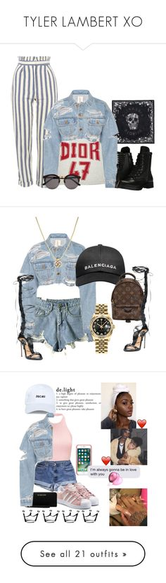 """TYLER LAMBERT XO"" by tylerlambert ❤ liked on Polyvore featuring outerwear, jackets, tops, chaquetas, denim jacket, blue jackets, button up jacket, distressed jean jacket, long sleeve jacket and Topshop"