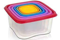 Square 14piece Plastic Food Storage Set  Rainbow Colored Lids 95 X 5 -- More info could be found at the image url.