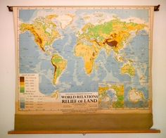 Classroom Pull Down Large World Map by COVECABIN on Etsy, $235.00