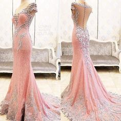 Sexy Evening Gowns Mermaid Pink Prom Dress, Pageant Prom Gown, Evening Gowns with Sweep Train MT20186936