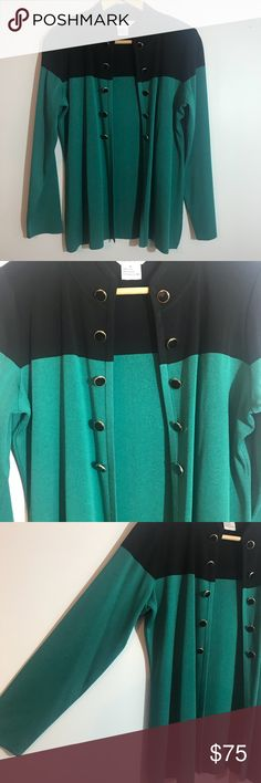 "Exclusively Misook Colorblock Cardigan Size Small Excellent condition. No flaws. Open cardigan. Size small. Blueish green color. Measurements taken laid flat: bust approximately 21"", length approximately 26"" Misook Sweaters Cardigans"