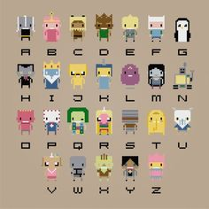 You're going to love Adventure Time Alphabet Cross Stitch by designer pxlpwr. Cross Stitching, Cross Stitch Embroidery, Embroidery Patterns, Beading Patterns, Hand Embroidery, Simple Embroidery, Crochet Patterns, Adventure Time Crochet, Adventure Time Tattoo