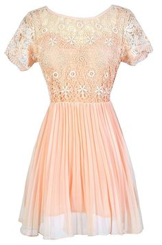 #Lily Boutique - #Lily Boutique Pleated and Pretty Crochet Lace and Chiffon Dress in Peach - AdoreWe.com