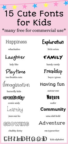 The best cute fonts for kids, free to download today! Use for home school projects, art & crafts, and more! Most listed are free for commercial use. #cutefonts #fonts #freefonts #homeschool