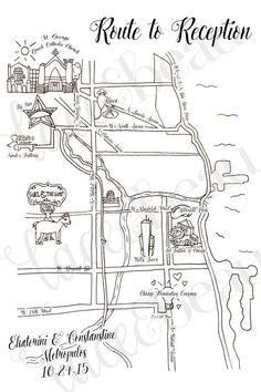 Loved creating this custom hand drawn Chicago route map for eKat and Costa! Check out more designs at my Etsy shop!